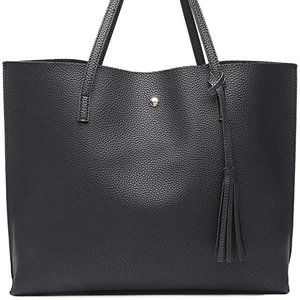 NEW JUAL Tote Soft Faux Leather, Black